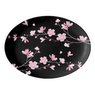 桜-黒 磁器大皿