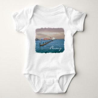 桟橋の遊航船 ベビーボディスーツ