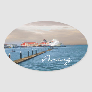 桟橋の遊航船 楕円形シール