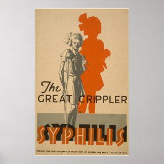 梅毒の素晴らしいCripplerのヴィンテージWPAの健康ポスター ポスター