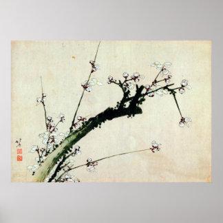 梅花、北斎のプラムは、Hokusai、Ukiyo-e活気付きます ポスター