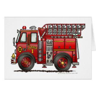 梯子の普通消防車の消防士 グリーティングカード