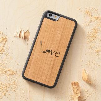 棒およびパックとのホッケー愛単語の芸術 CarvedチェリーiPhone 6バンパーケース