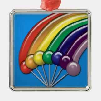 棒つきキャンデーおよび虹のオーナメント メタルオーナメント