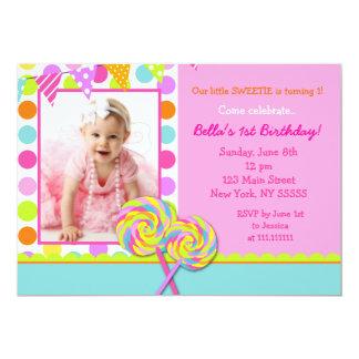 棒つきキャンデーの甘い専門店の誕生日のパーティの招待状 カード