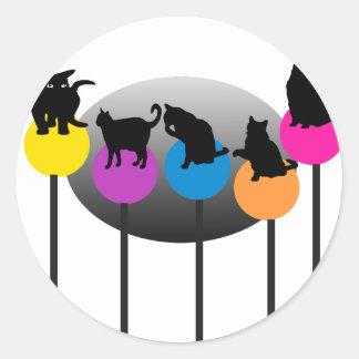 棒つきキャンデー猫 ラウンドシール