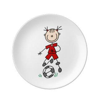 棒の姿のサッカーの赤い均一磁器皿 磁器プレート