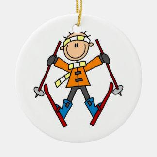 棒の姿のスキーヤーのTシャツおよびギフト セラミックオーナメント
