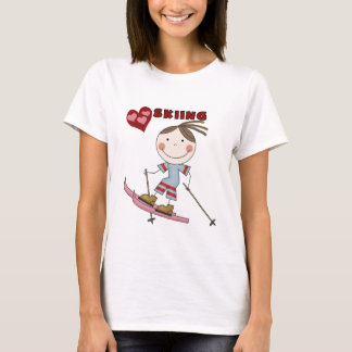 棒の姿の女の子のスキーヤーのTシャツおよびギフト Tシャツ