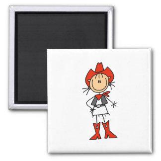棒の姿の女性のカーボーイの赤い帽子およびブーツの磁石 マグネット