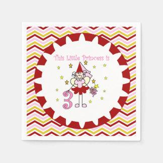 棒の姿の王女第3誕生日の紙ナプキン スタンダードカクテルナプキン