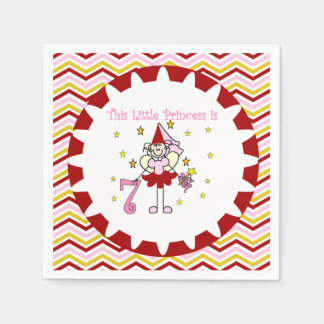 棒の姿の王女第7誕生日の紙ナプキン スタンダードカクテルナプキン