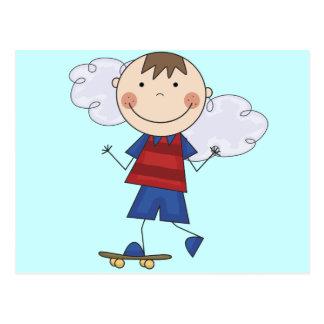 棒の姿の男の子のスケートボーダーのTシャツおよびギフト ポストカード