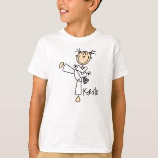 棒の姿の空手の女の子のTシャツ Tシャツ