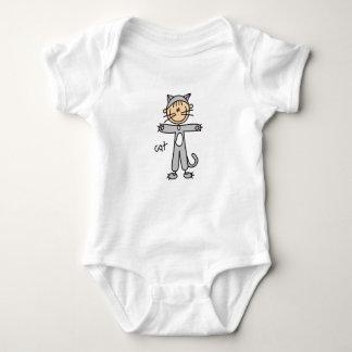 棒の姿猫のワイシャツ ベビーボディスーツ