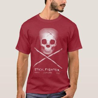 棒の戦闘機のスカル及び骨が交差した図形 Tシャツ