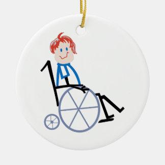 棒の車椅子の子供 セラミックオーナメント