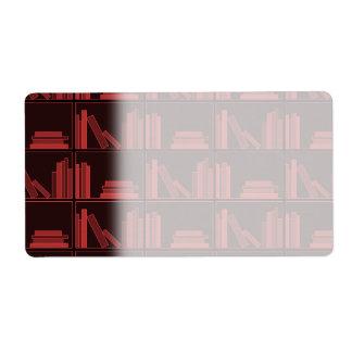 棚の本。 えんじ色。 ラベル