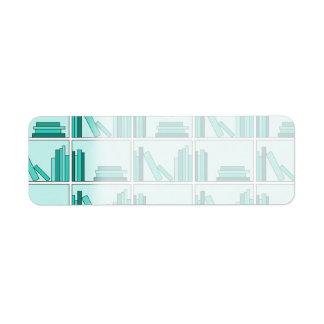 棚の本。 ティール(緑がかった色)および水のデザイン ラベル