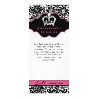 棚カードダマスク織の白く黒いピンクの花の王冠 ラックカード