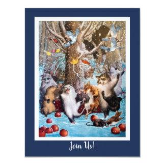 森おもしろいな動物の招待状のクリスマス カード