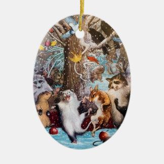 森のおもしろいな動物のオーナメントのクリスマス セラミックオーナメント