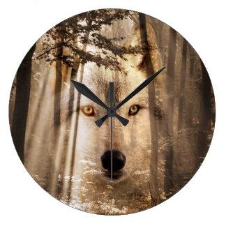 森のオオカミの顔 ラージ壁時計