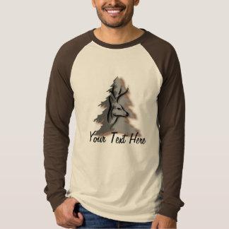 森のカスタムで名前入りなスローガンの木びき台 Tシャツ