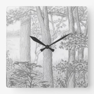 森のグラファイトの鉛筆のスケッチが付いているsummer湖 スクエア壁時計