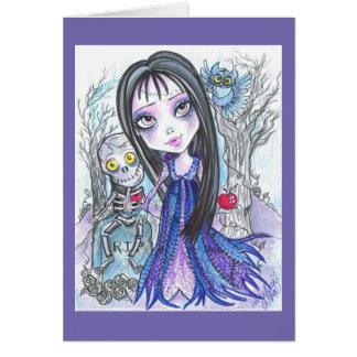森のハロウィンのファンタジーの芸術カードの歩行 カード