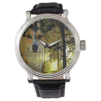森のハンサムなコーギー 腕時計