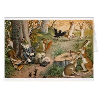 森のメッセージカードのヴィンテージのハンター猫 カード