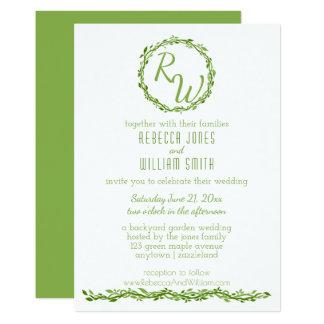 森の優雅|の結婚のつる植物5 x 7緑の草木 12.7 x 17.8 インビテーションカード