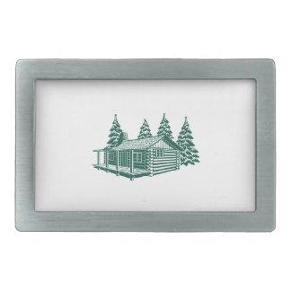 森の小屋… 長方形ベルトバックル
