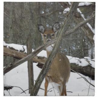森の布のナプキンのシカは4の置きました ナプキンクロス