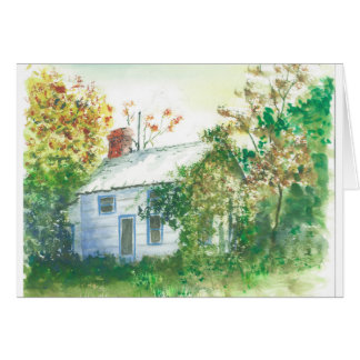 森の水彩画のコテッジ カード