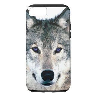 森の野生の自然動物のオオカミの目 iPhone 7ケース