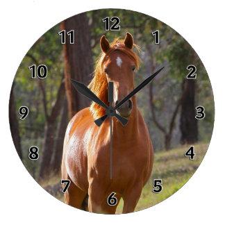 森の馬 ラージ壁時計