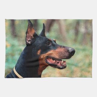 森の(犬)ドーベルマン・ピンシェル キッチンタオル