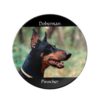 森の(犬)ドーベルマン・ピンシェル 磁器製 皿