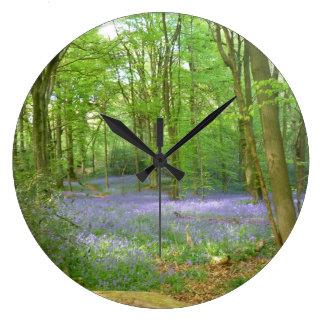 森のBluebells ラージ壁時計