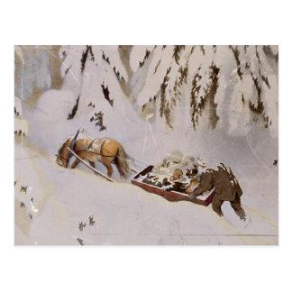 森を通してそりを引っ張っている馬 ポストカード