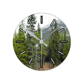 森林および山場面時計 ラウンド壁時計