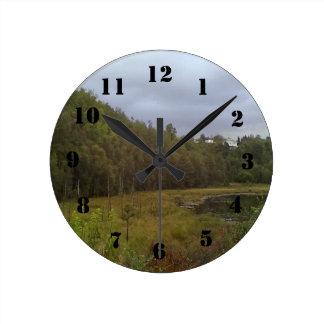 森林および木 ラウンド壁時計