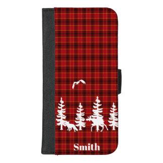 森林が付いている赤い格子縞の水牛の点検の樵 iPhone 8/7 PLUS ウォレットケース