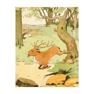 森林でボルトで固定しているオジロ鹿シカの雄鹿 キャンバスプリント
