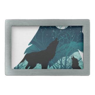 森林と遠ぼえしているオオカミ 長方形ベルトバックル