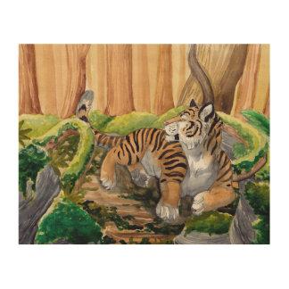 森林にあっているトラ ウッドウォールアート