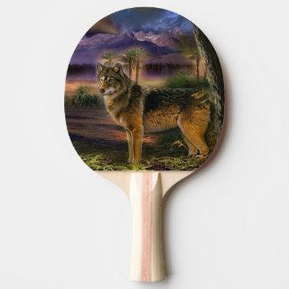 森林のカラフルなオオカミ 卓球ラケット