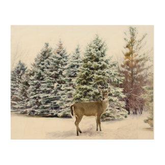 森林のシカ、冬の景色の木製の壁の芸術 ウッドウォールアート